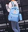 Рюкзак молодежный городской с пеналом Голубой, фото 4