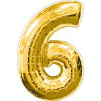 """Фольгированный шар Цифра """"6"""", Золото, высота 90 см"""