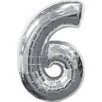 """Фольгированный шар Цифра """"6"""", Серебро, высота 90 см"""