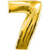 """Фольгированный шар Цифра """"7"""", Золото, высота 90 см"""