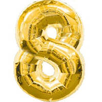 """Фольгированный шар Цифра """"8"""", Золото, высота 90 см"""
