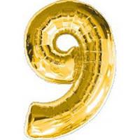 """Фольгированный шар Цифра """"9"""", Золото, высота 90 см"""