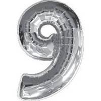 """Фольгированный шар Цифра """"9"""", Серебро, высота 90 см"""