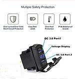 USB быстрое зарядное QC 3,0 / AFC 12V/ FCP 9.0V врезная 12-24в 18 Вт/3A с вольтметром влагостойкое  авто мото, фото 7