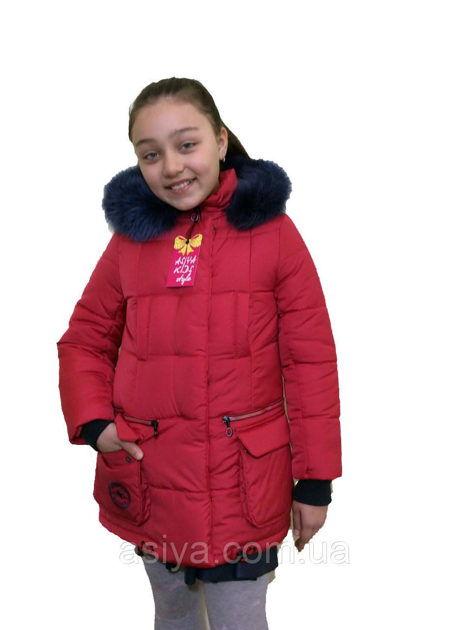 """Модная зимняя красная куртка на девочку """"Звезда"""""""