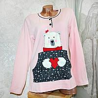 Размер 2XL (50-52). Женская одежда для дома, розово-серая пижама 100% х.б, кофта и штаны, Турция