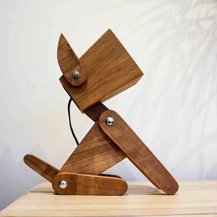 Деревянная ночная лампа из сосны для детей, фото 2