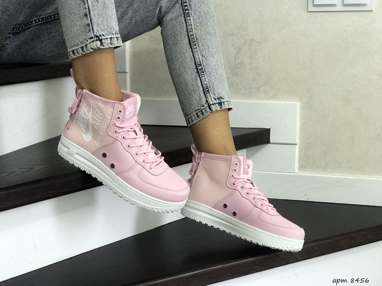 Кроссовки кеды женские кожа нубук найк аир форс розовые повседневные (реплика) Nike Air Force Pink