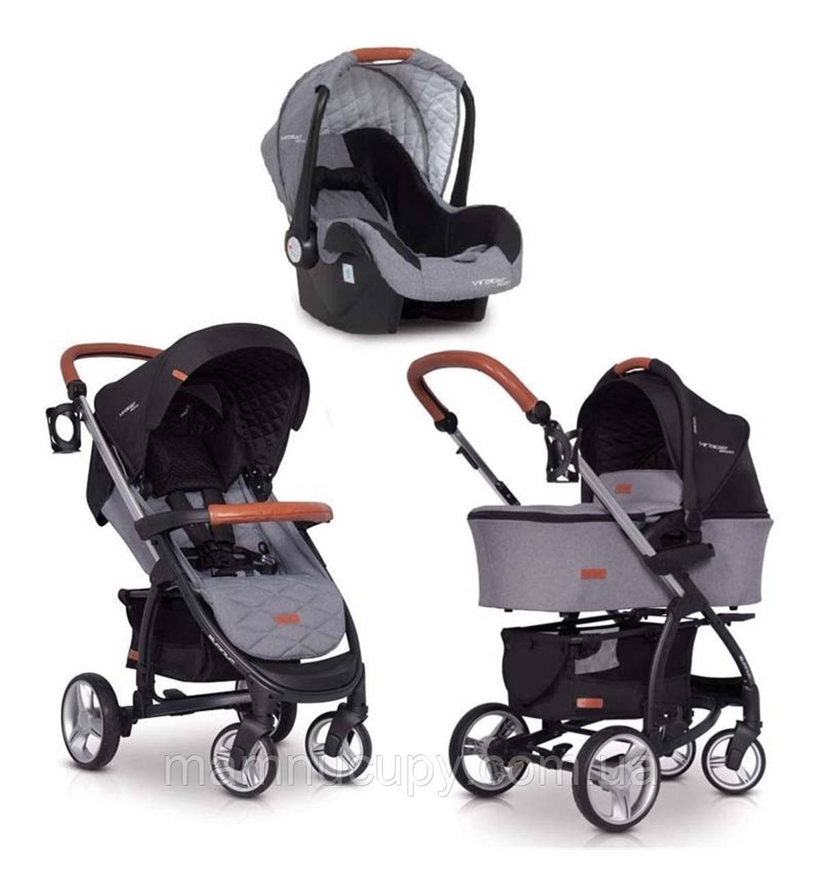 Детская универсальная коляска 3 в 1 EasyGo Virage Ecco Antracite