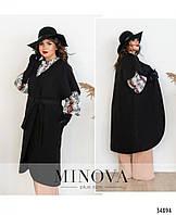 Пальто женское стильное с короткими рукавами 50-60 размеров,цвет черный