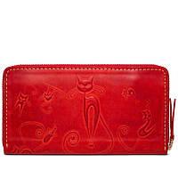 Женский кожаный кошелек-клатч ручной работы Gato Negro Discovery Catswill Red