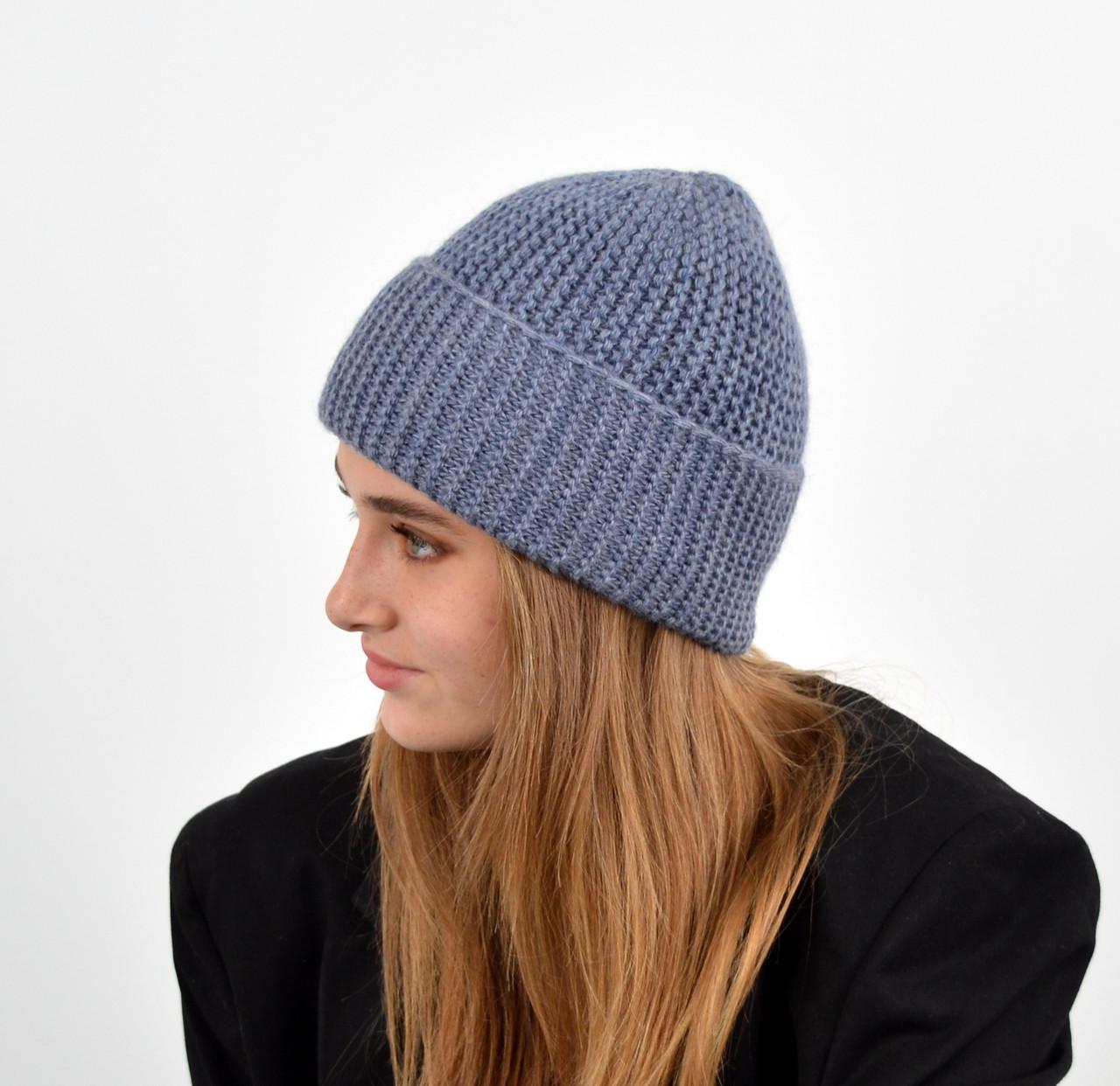 Женская шапка veilo на флисе 3409 джинс