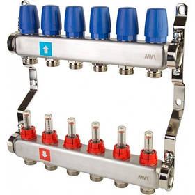 Коллектор для теплого пола MVI с расходомерами и креплением на 3 выхода