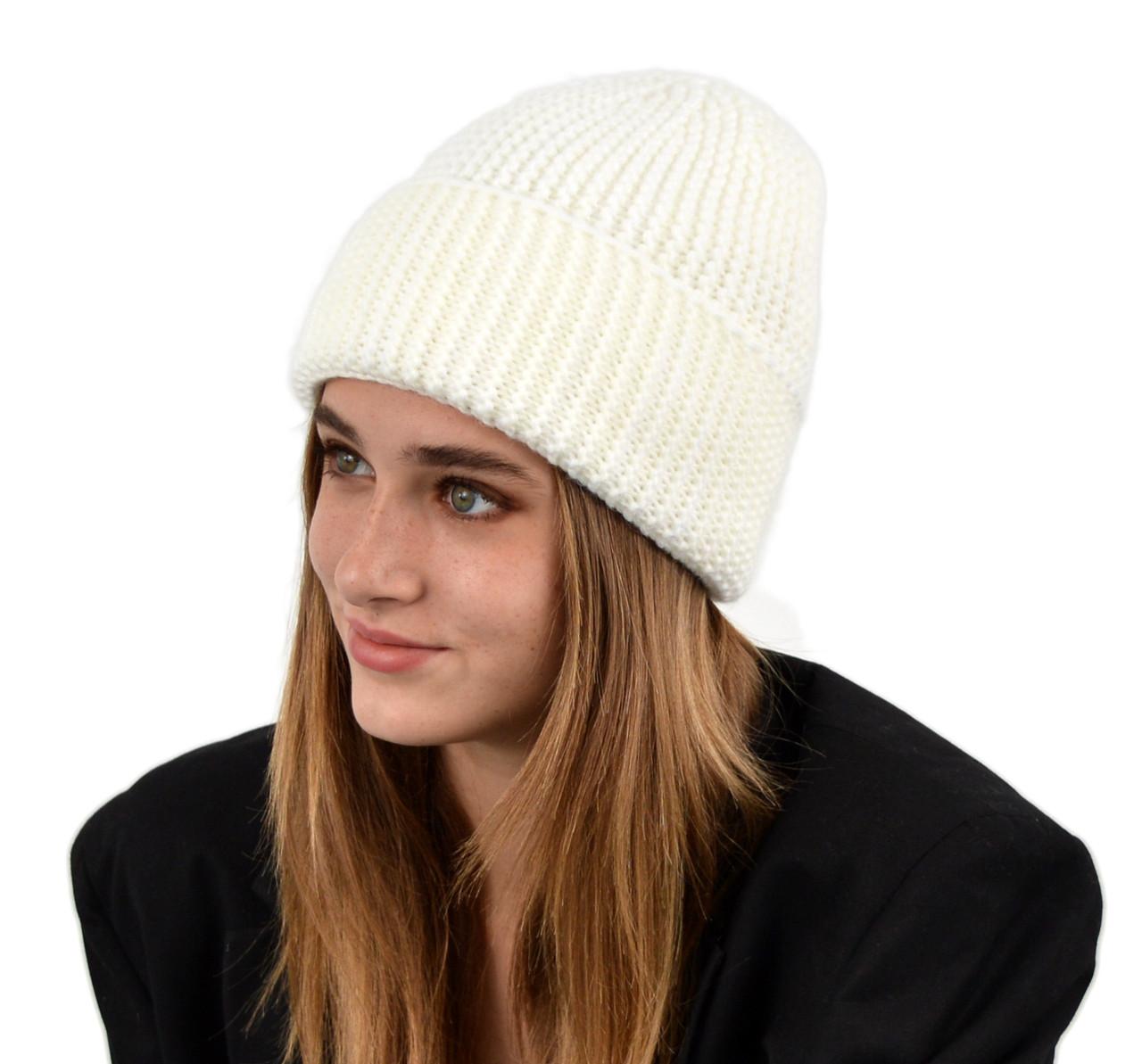 Женская шапка veilo на флисе 3409 молоко