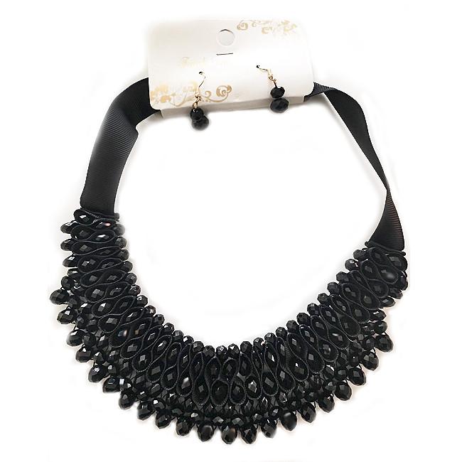 Комплект из Черного Агата - колье и сережки
