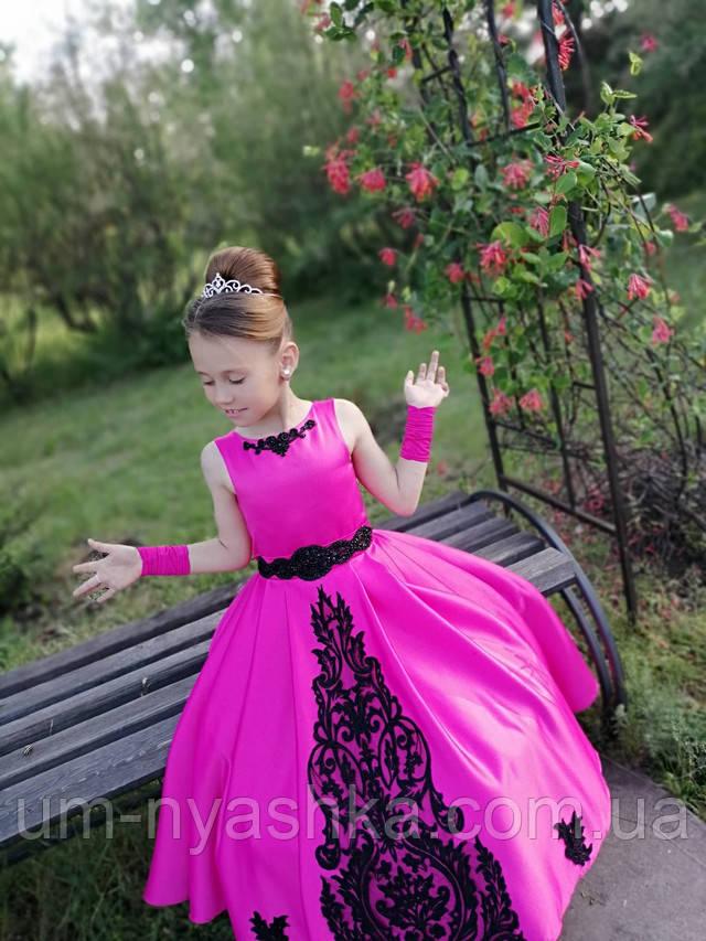 атласне довге плаття на дівчинку