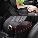 Підлокітник для салону автомобіля ZIRY штучна шкіра, чорний з червоним, фото 6