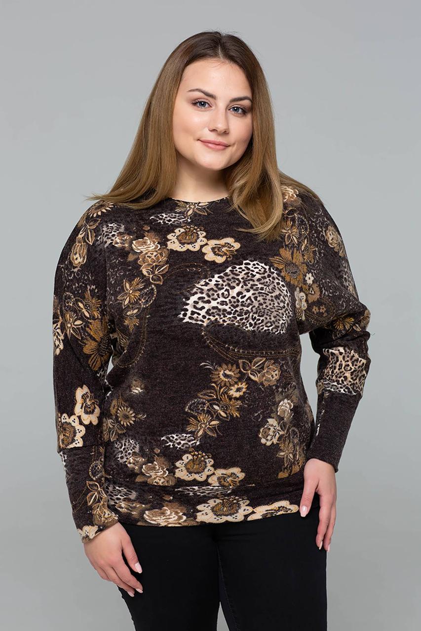 Модный женкий джемпер из притованной ангоры с 56 по 60 размер