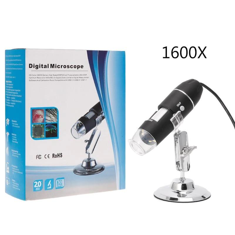 Электронный микроскоп USB 1600 крат на подставке