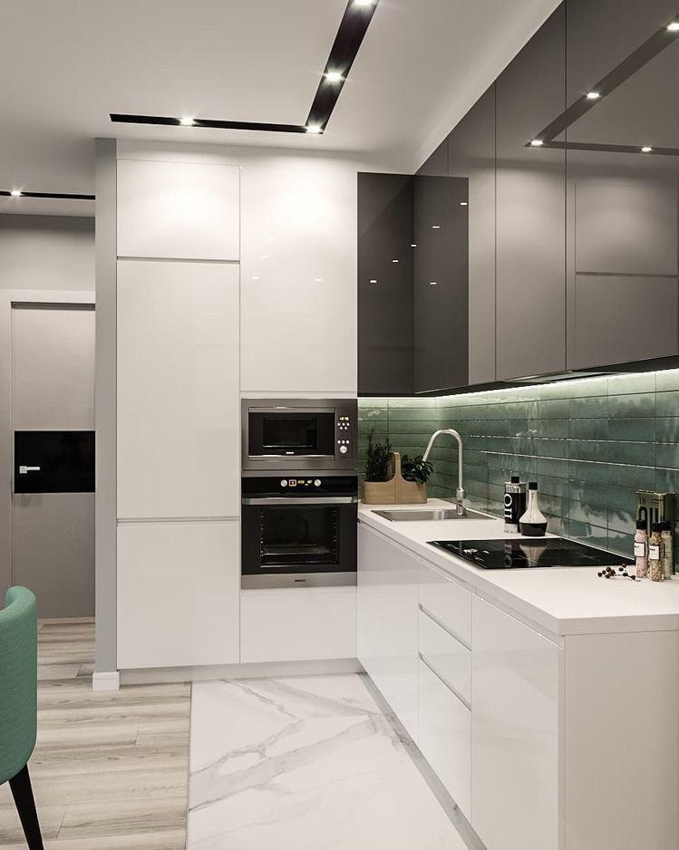 Кухня бело серая с фасадами мдф