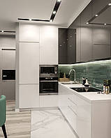 Кухня бело серая с фасадами мдф, фото 1