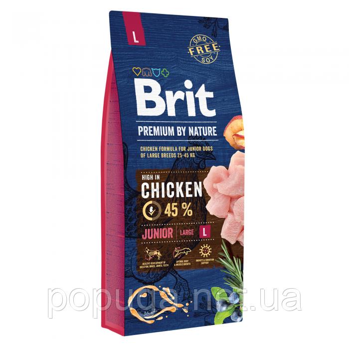 Brit Premium Dog Junior Large L корм для щенков и молодых собак крупных пород, 15 кг