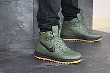 Высокие мужские зимние кроссовки Nike Lunar Force 1,темно зеленые, фото 2