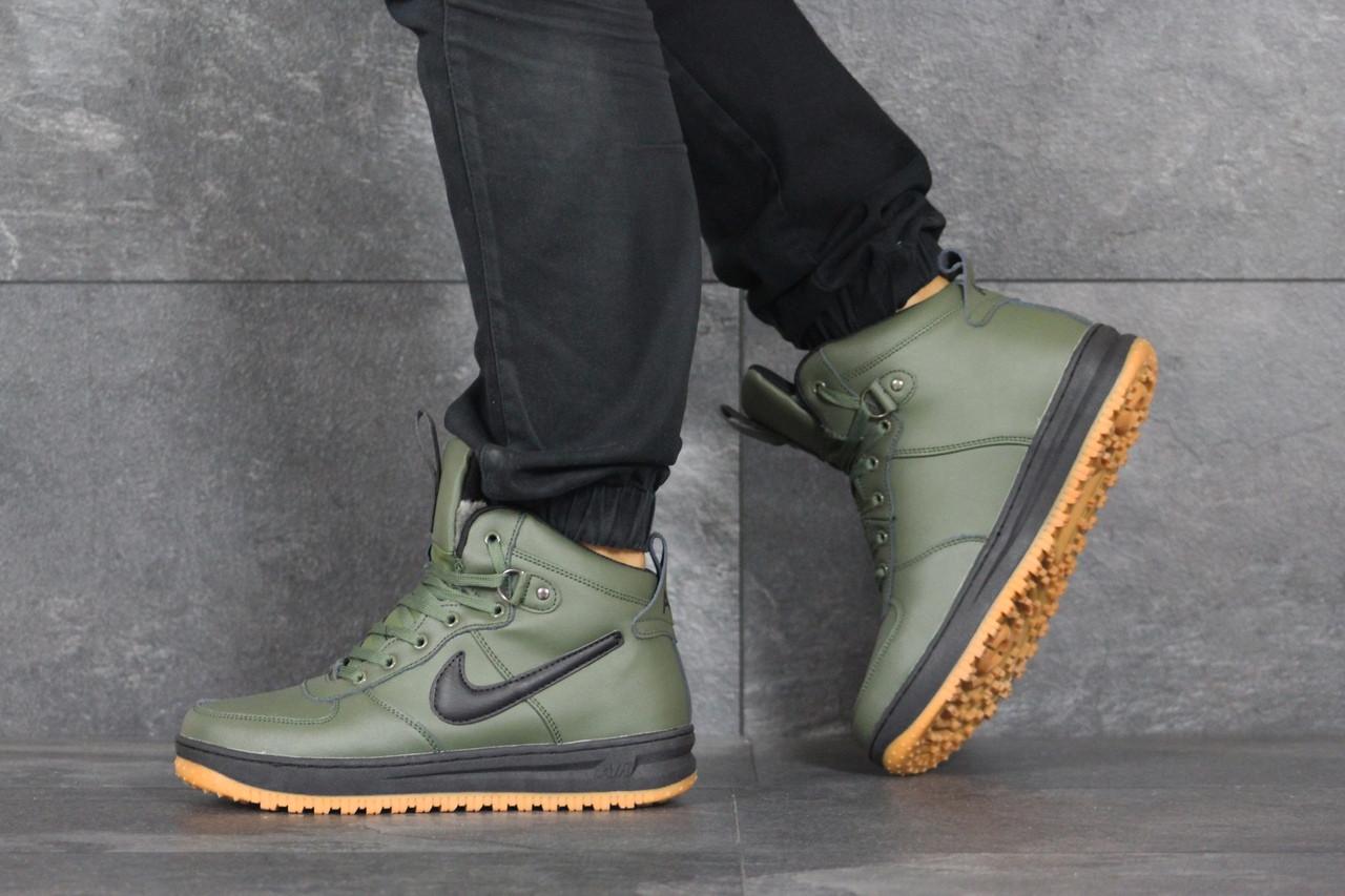 Высокие мужские зимние кроссовки Nike Lunar Force 1,темно зеленые