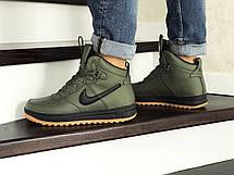 Высокие мужские зимние кроссовки Nike Lunar Force 1,темно зеленые, фото 3