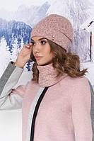 Комплект «Бетани» (шапка и шарф-хомут) цвет пудра артикул 5001-7п