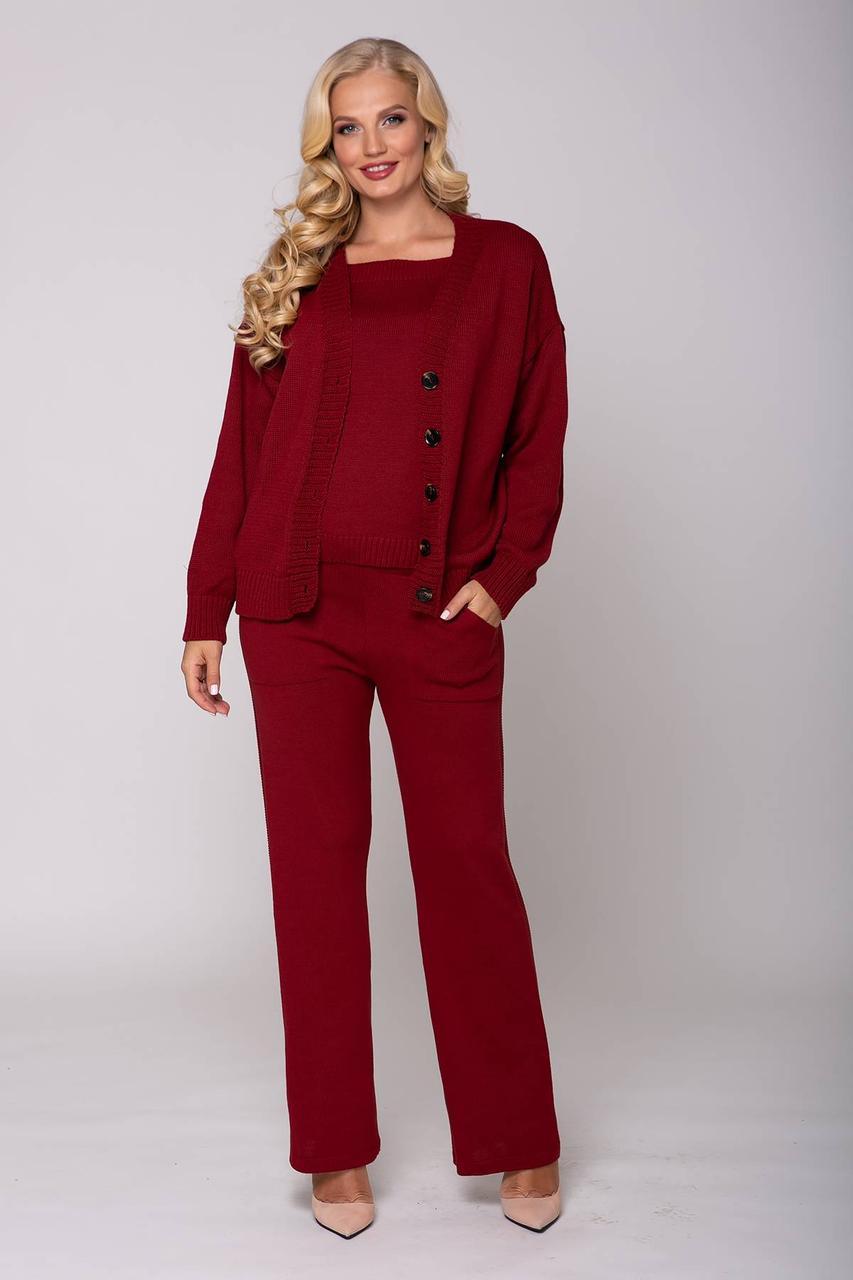 Элегантный женский вязаный костюм тройка-майка,брюки и кардиган 52 и 54 размер
