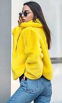 Желтая шуба из искусственного меха кролика 42-48 р, фото 3