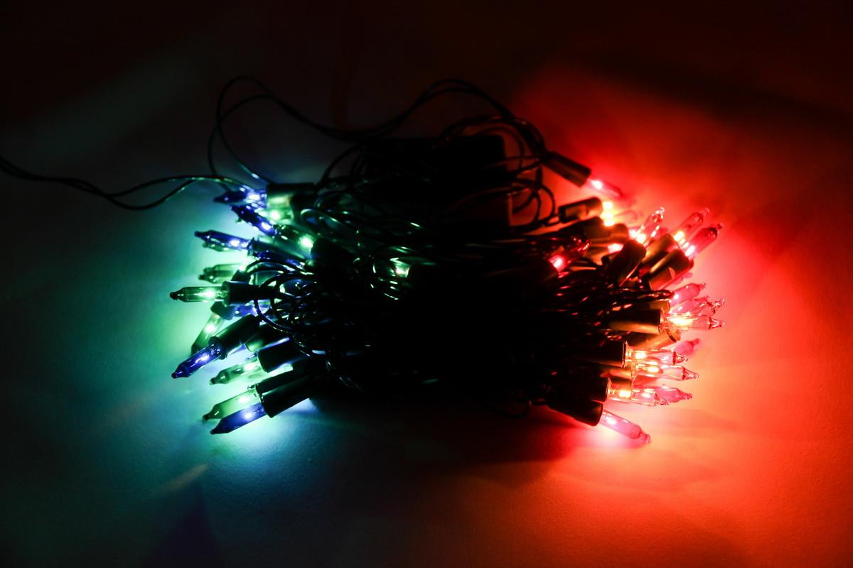 Светодиодная гирлянда обычные лампочки 50Л разноцветная, контроллер 8 функций (350544)