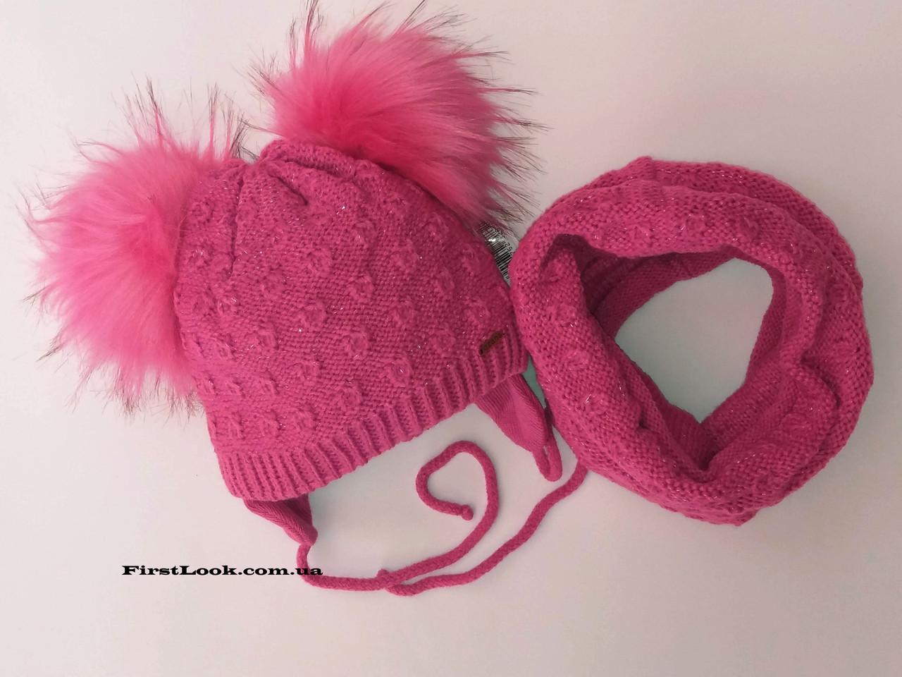 Детский комплект шапка и снуд на флисе,размер(1-2 года)