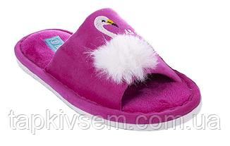 Женские комнатные тапочки PLAAZZO Фламинго с открытым носком(малина)