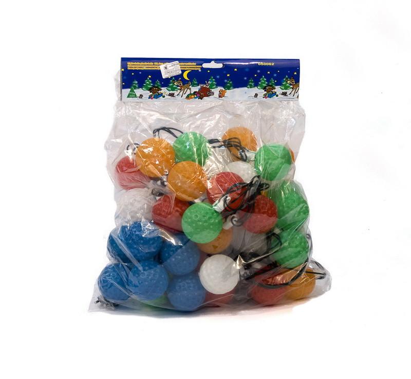 Светодиодная гирлянда пластиковые шарики 6см 50Л разноцветная (050062)