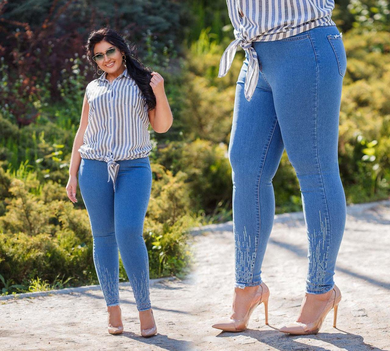 """Женские стильные джинсы с вышивкой + стразы """"301706"""""""