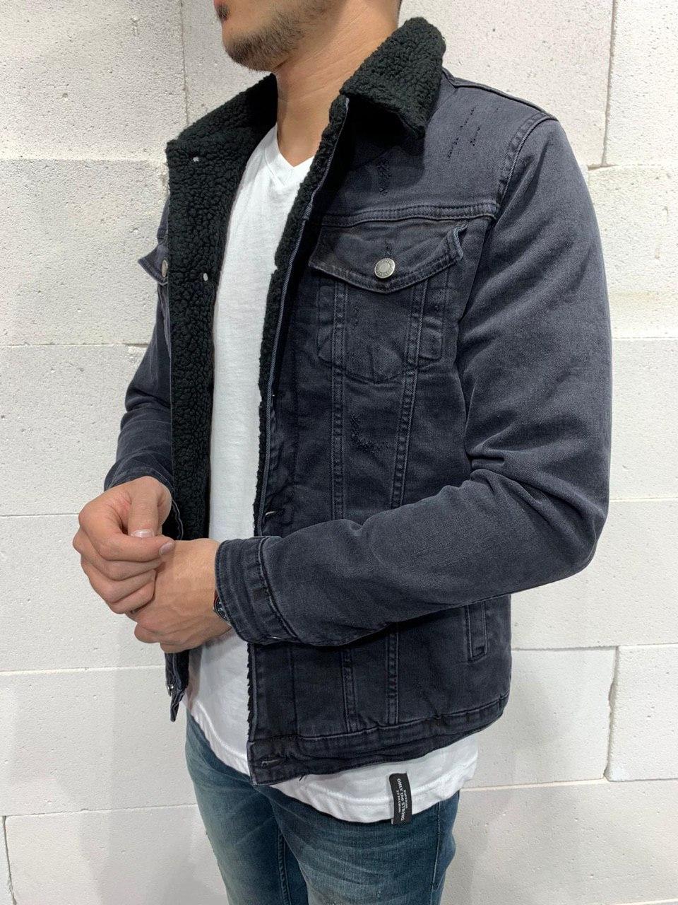 😜 Джинсовая куртка черная  на черном меху