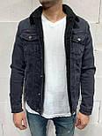 😜 Джинсовая куртка черная  на черном меху, фото 2