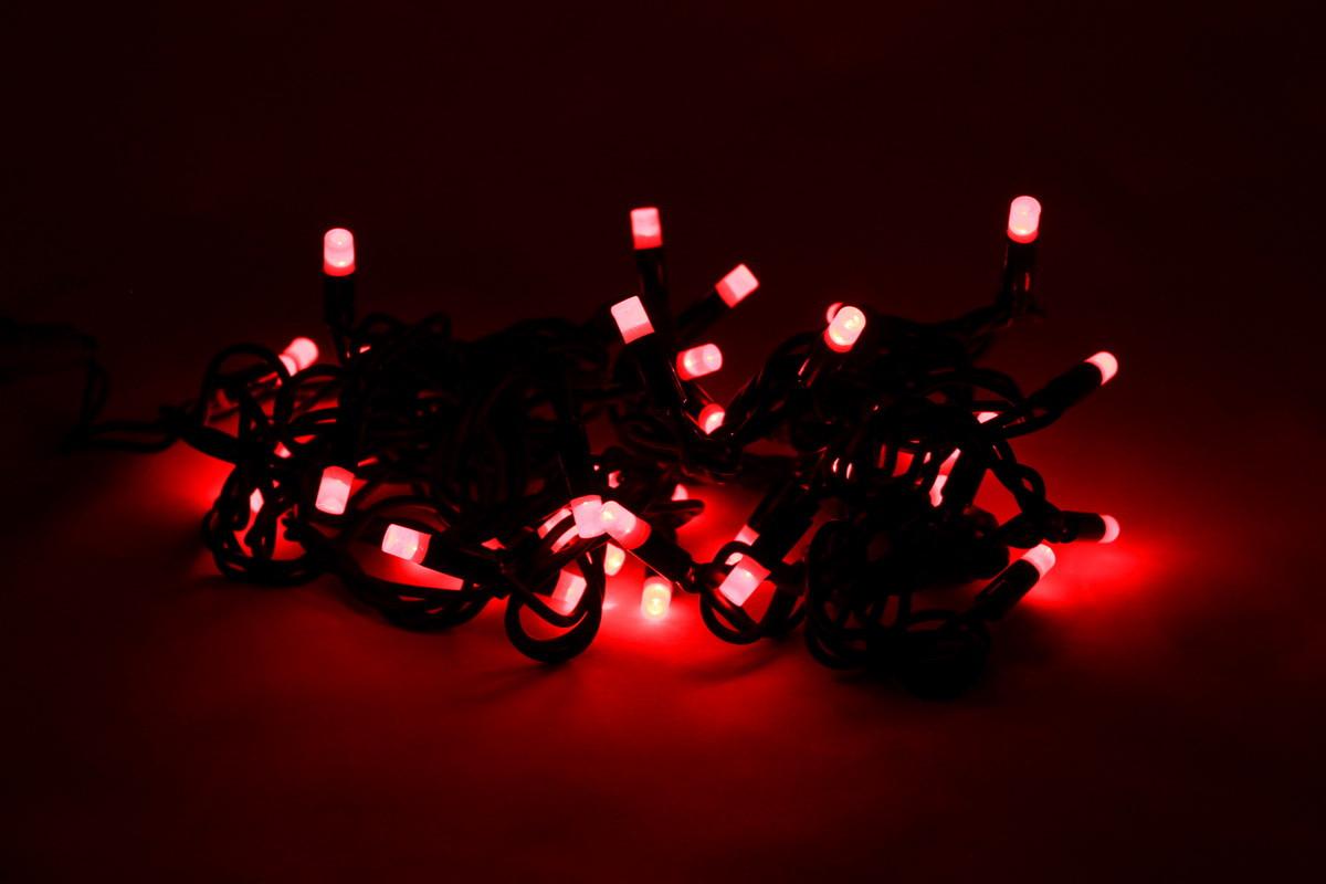 Светодиодная гирлянда вогнутые лампочки 40Л красная (040551)