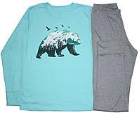 Пижама подростковая для мальчика, бирюзово-серая, медведь, рост 146 см, 158 см, Фламинго