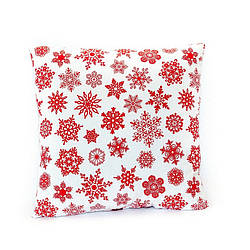 Новогодняя подушка декоративная Белая в снежинку 45*45 см