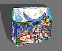 Упаковка праздничная новогодняя из металлизированного картона Санта, до 1кг, от 1 ящика