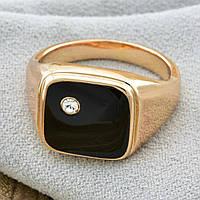 Кольцо печатка Xuping Jewelry размер 21,5 с черной эмалью медицинское золото позолота 18К. А/В 4296