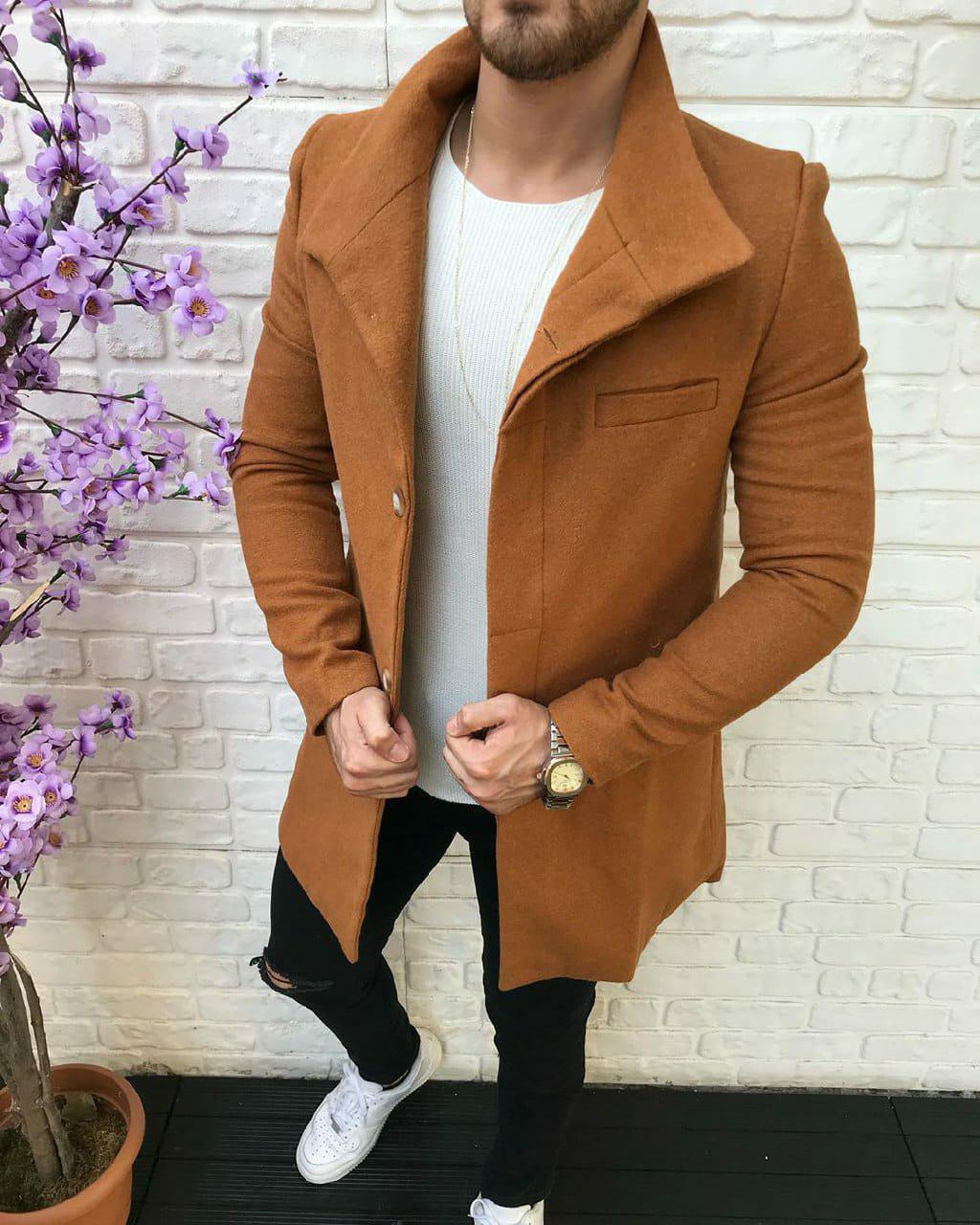 Пальто - Мужское пальто горчичное