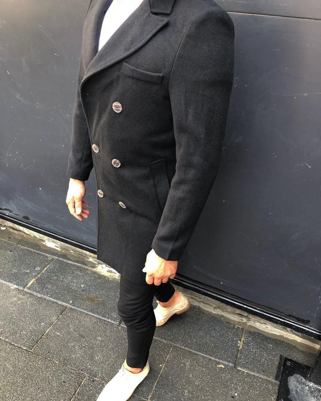 Пальто - Мужское черное пальто с воротником