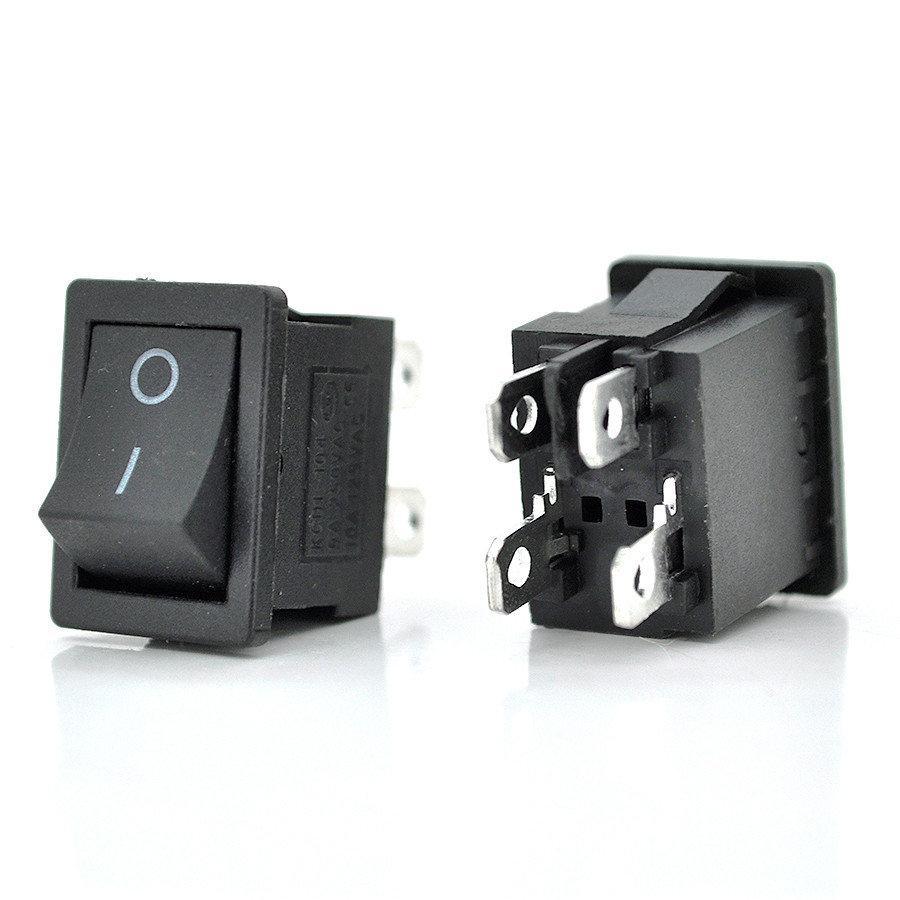 Выключатель, кнопка KCD1-104 AC 250В 6А 4 контакта - Черный