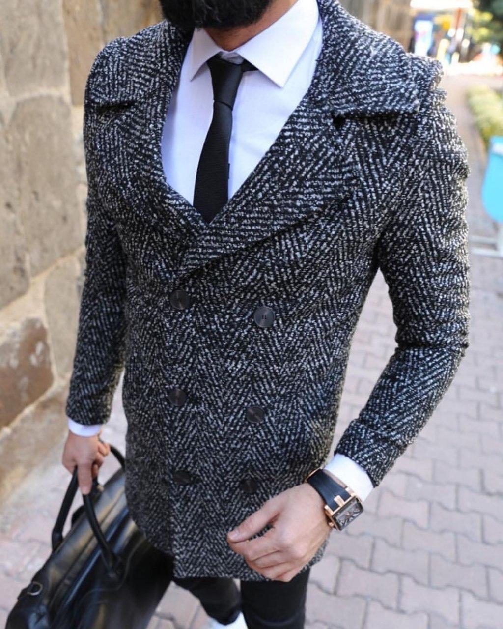 Пальто - Мужское черное пальто классическое