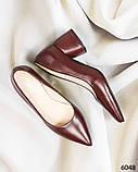 Элегантные кожаные туфли на каблуке марсалового цвета, фото 5