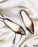 Элегантные кожаные туфли на каблуке марсалового цвета, фото 6